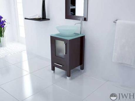 Small Bathroom Vanity with Glass Door