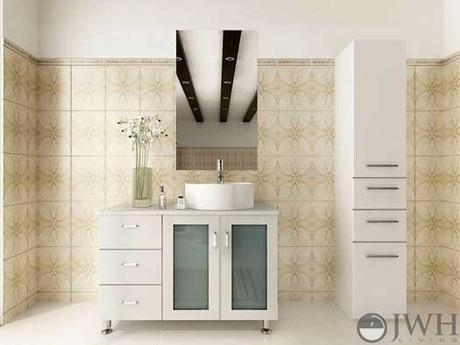White Lune Vanity with Tempered Glass Door Panels