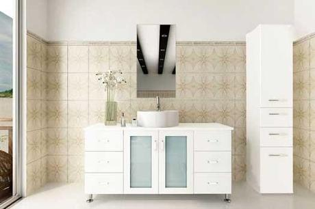 White Lune Vanity with Frosted Glass