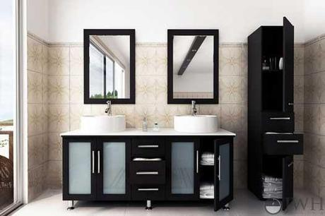 Double Vanity with Frosted Glass Doors