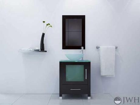 JWH Living Soft Focus Vanity with Single Glass Door