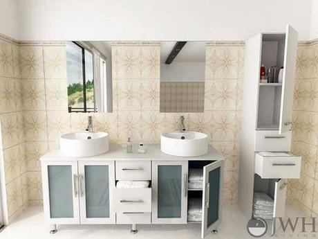 White Vanity with Frosted Glass Windows