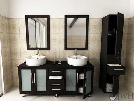 Espresso Double Vanity with Glass Doors
