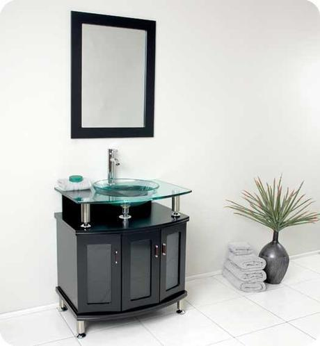 Contento Vanity with Tempered Glass Top and Doors