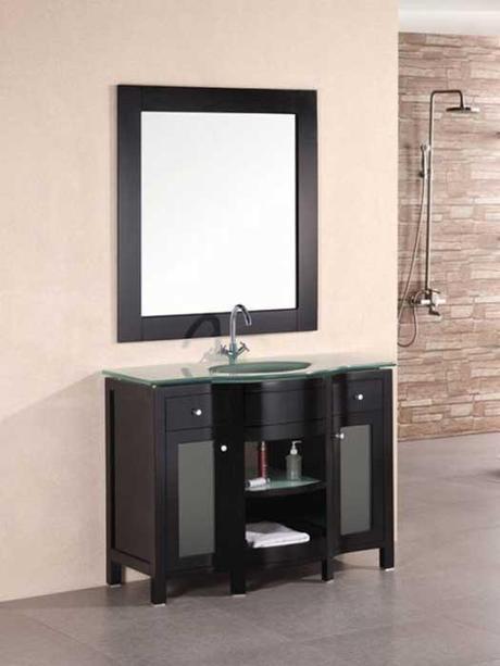 Rome Single Bath Vanity with Glass Door Panels