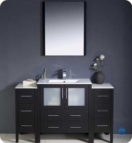 Fresca Modern Vanity with Frosted Glass Doors