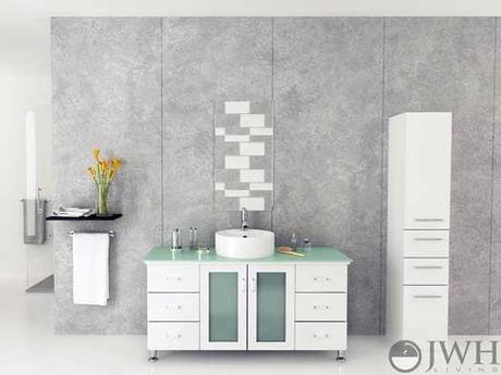 White Bathroom Cabinet with Glass Doors