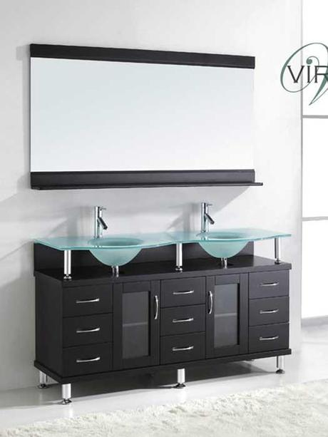 Vincente Rocco Vanity with Frosted Tempered Glass Top
