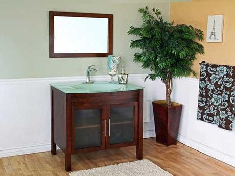 Bonito Walnut Finish Vanity with Glass Panels