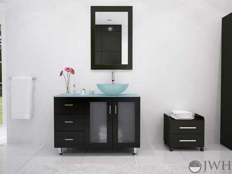 Lune Vanity with Green Glass Sink and Top