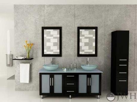 Modern Vanity with Glass Doors