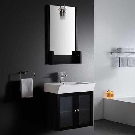 Sigtuna Wall Mounted Vanity with Glass Doors