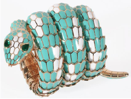 Bulgari Serpenti turquoise and white enamel watch to be auctioned • Image: Dreweatts & Bloomsbury