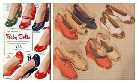 1940s shoes styles baby doll slingbacks peep toe