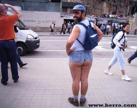 bearded man in short shorts
