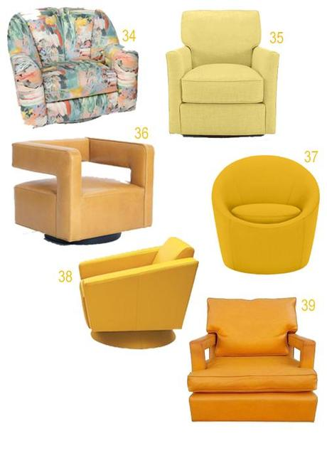 Modern Yellow Orange Upholstered Swivel Chairs
