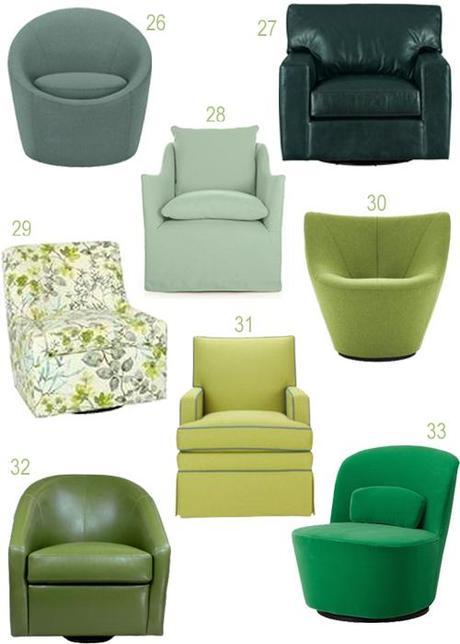 Modern Green Upholstered Swivel Chairs