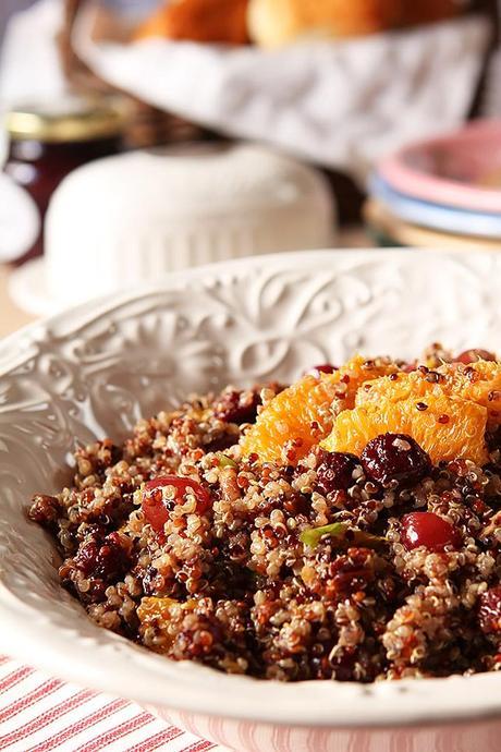 Quinoa salad with oranges, cranberries and pecans.