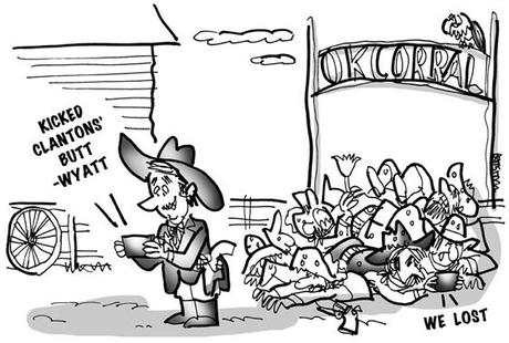 cartoon showing Wyatt Earp at O.K. Corral texting message