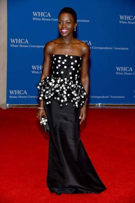 Lupita Nyong'o in Oscar de la Renta at the White House Correspondents' Association Dinner in Washington, DC