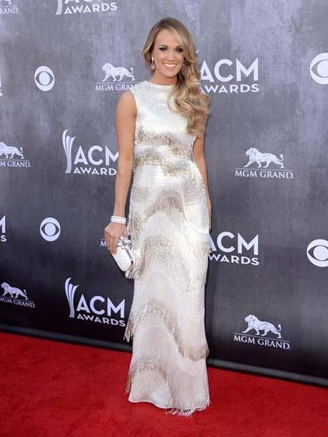 Carrie Underwood in Oscar de la Renta this evening at the Country Music Awards in Las Vega