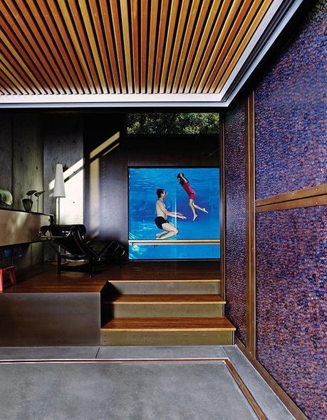 Palo Alto home with acrylic pool window