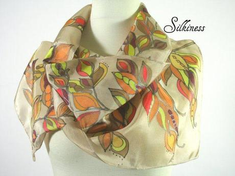 silkiness autumn, silk scarf, silk scarves, handpainted, hand made accessries, etsy handmade, gifts for christmas, gifts for mothers day, gifts for him, gifts for her, giveaway,#giveaway, sweepstakes