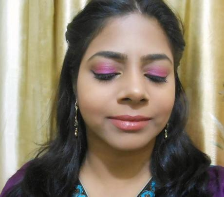 Festive Pink Eyes and Nude Lips for Diwali!