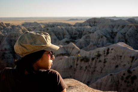 Charlene in the Badlands setting sun