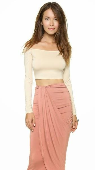 Trend Alert: Long sleeve crop top with skirt