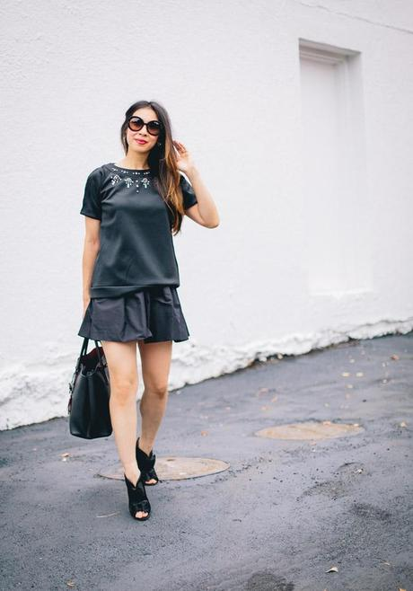 style of sam, french connection scubalicious neoprene top, how to wear black on black