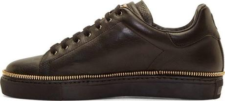 Bound And Zipped:  Alexander McQueen Black Leather Gold Zipper Trim Low-Top Sneaker