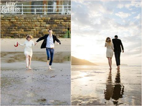 Photography Engagement Shoot in Whitby | Girl wearing Red Flower crown | Alterntive Couple whereing Vintage clothing | Couple running on the beach | Reflections on the water