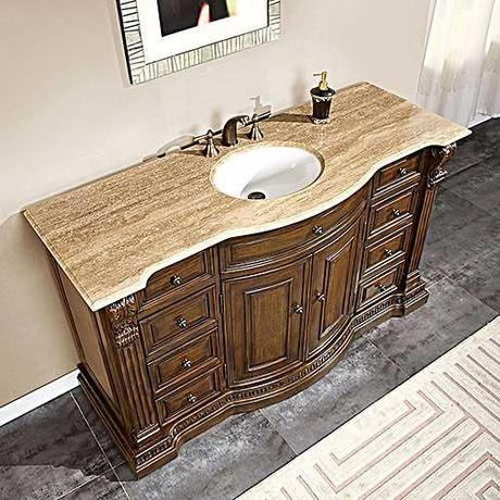 Lambros Vanity with Travertine Counter Top