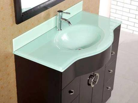 Aria Bowfront Vanity with Tempered Glass Top