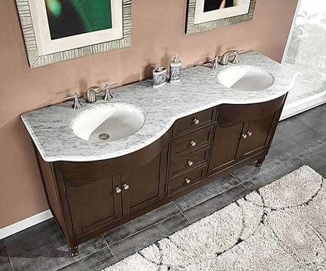 Antillo Double Vanity with White Marble Top