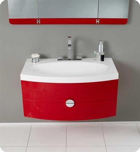 Energia Red Floating Bathroom Vanity