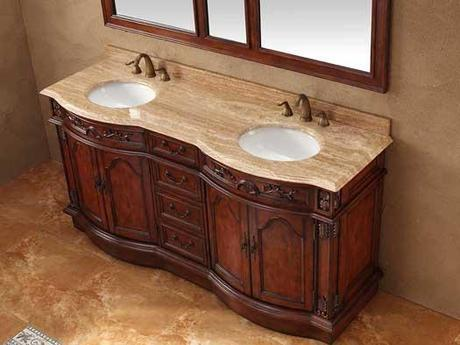 Tullow Curved Front Vanity Base with Travertine Top
