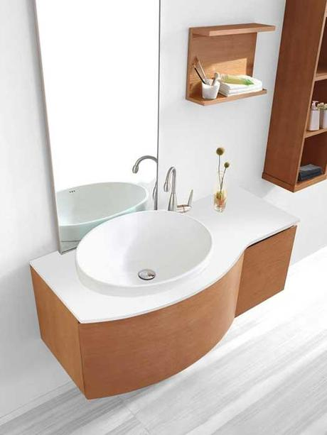 A Collection Of Bathroom Vanities With Curved Fronts