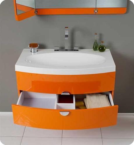 Energia Orange Bathroom Vanity