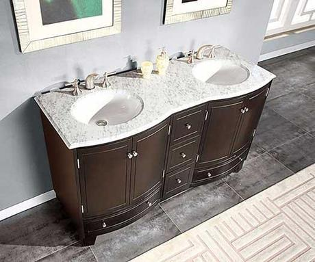 Delia Vanity with White Marble Counter Top