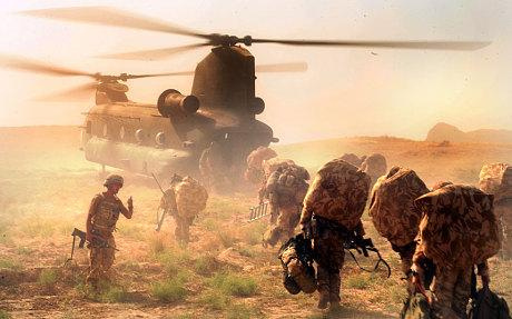 3rd Bn The Parachute Regiment mount an operation by chinook helicopter in the Mizan district of Zabul in southern Afghanistan