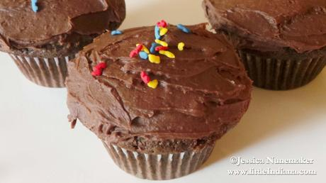 Chocolate Chocolate Chip Cupcakes with Chocolate Frosting