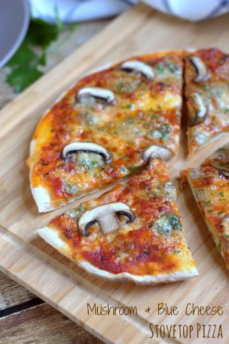 Mushroom & Blue Cheese Stovetop Pizza