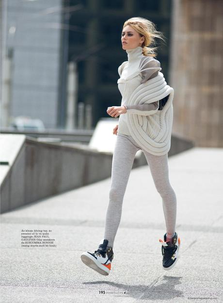 Vika Falileeva in Jean Paul Gaultier and Suecomma Bonnie sneakers © Benjamin Kanarek