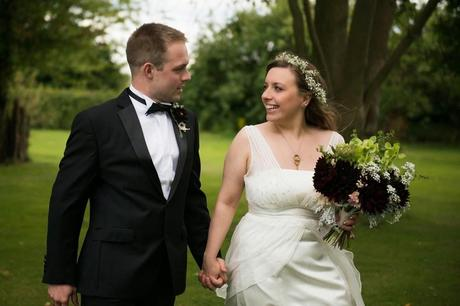 The couple walk through the gardens of Wethele Manor