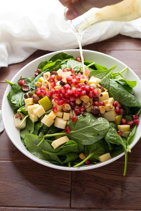 Pear Gouda and Hazelnut Spinach Salad