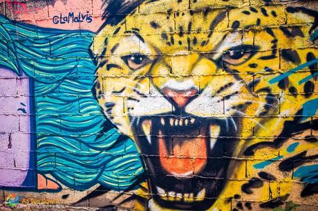 Street Art 00093 Postcard: Snarling Jaguar Street Art
