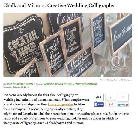 Gathering Guide Article on CT-Designs (Wedding Signage)