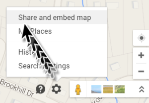 directions on sharing a map on a restaurant website page